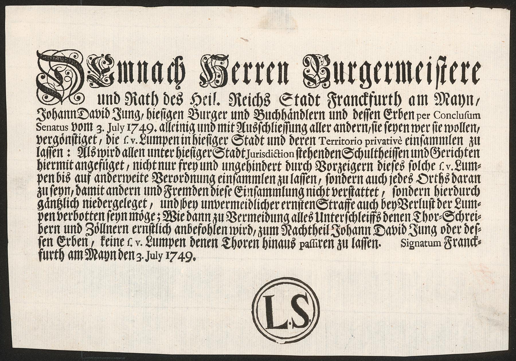 Lumpensammelprivileg in Frankfurt am Main von 1749