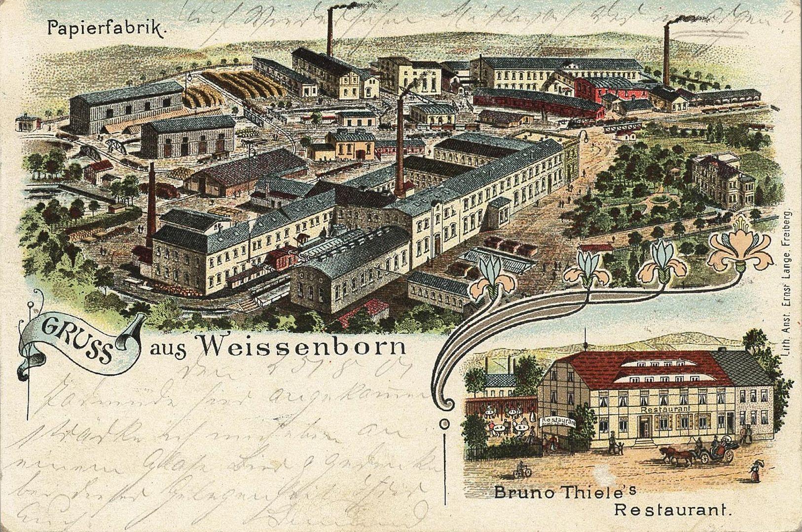 Ansicht der Papierfabrik zu Weißenborn