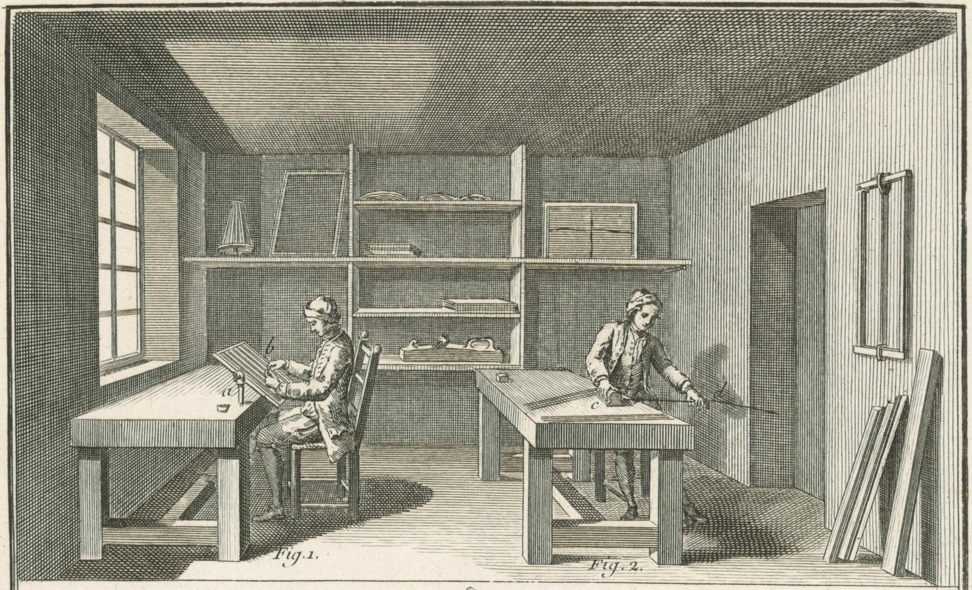 Französische Formenmacherwerkstatt (nach einem Stich von 1761)