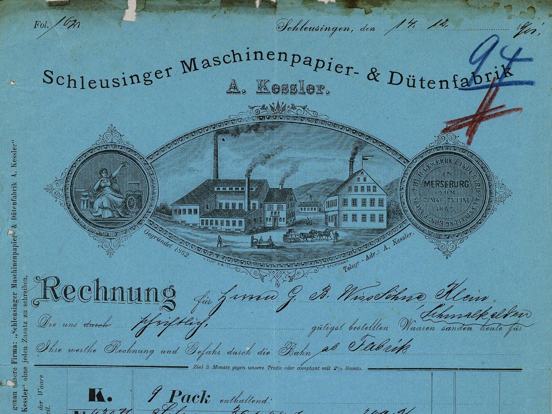 Rechnungsformular einer Maschinenpapier- und Tütenfabrik