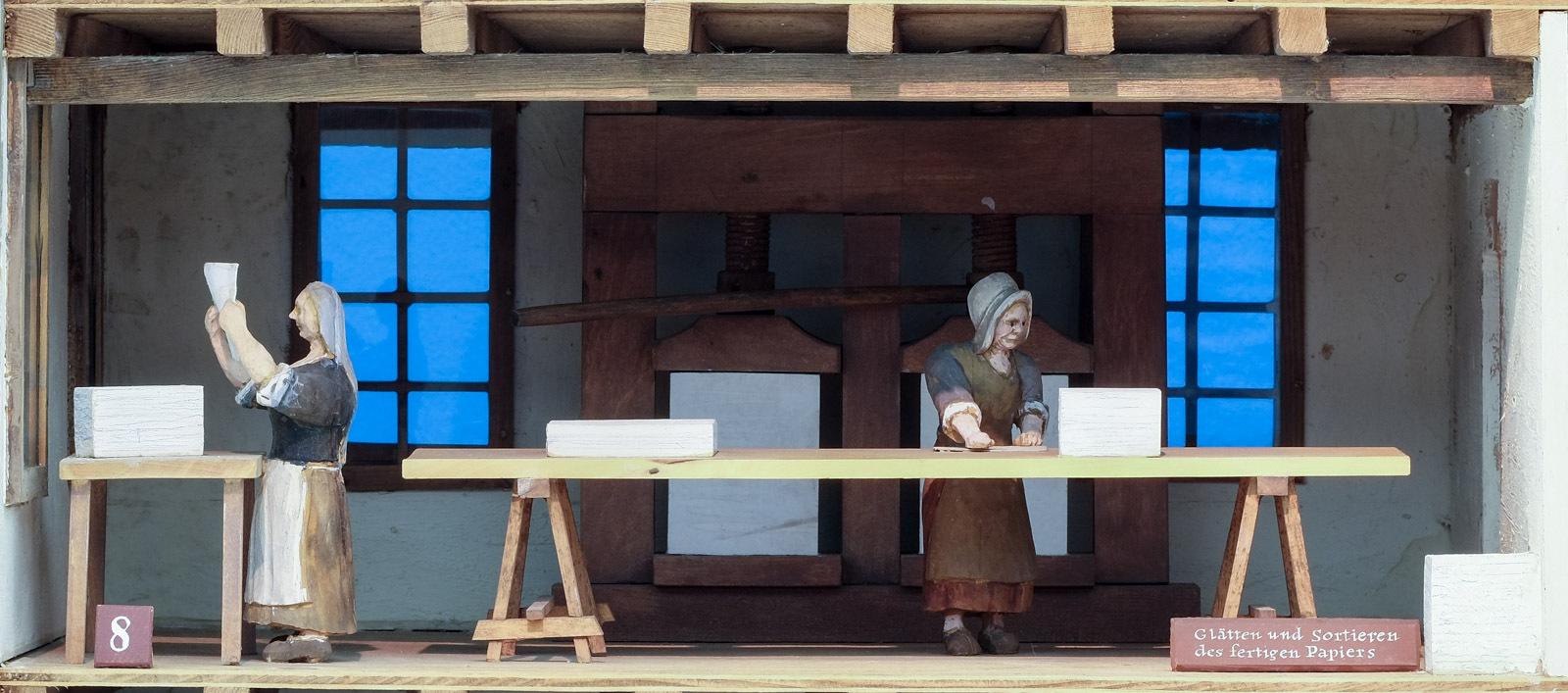 Papiermühle: Glätten und Sortieren des fertigen Papiers