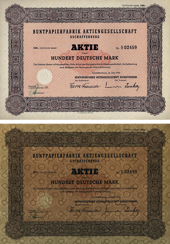 Aktie über 100 Deutsche Mark vom Juni 1956
