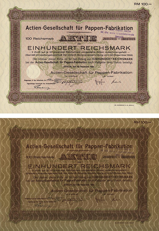 Aktie über 100 Reichsmark vom 30. Dezember 1924
