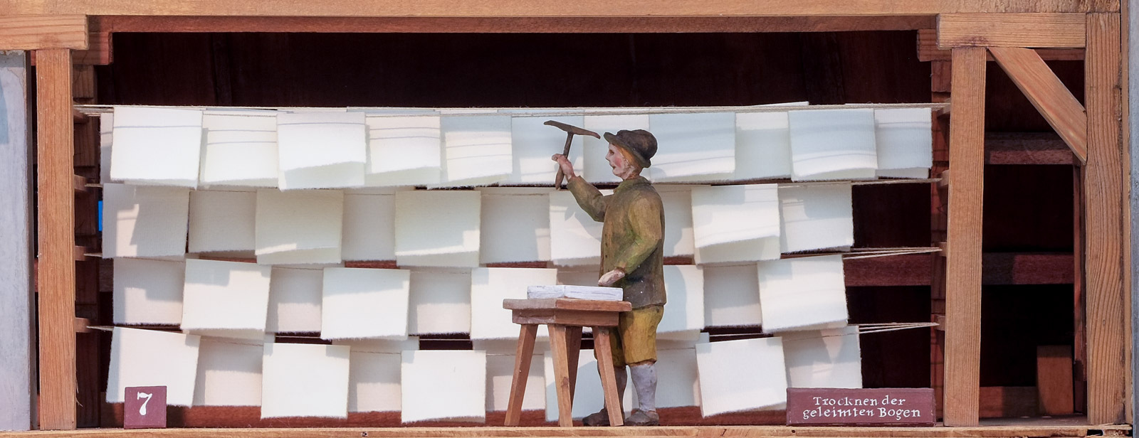 Papiermühle: Trocknen der geleimten Bogen