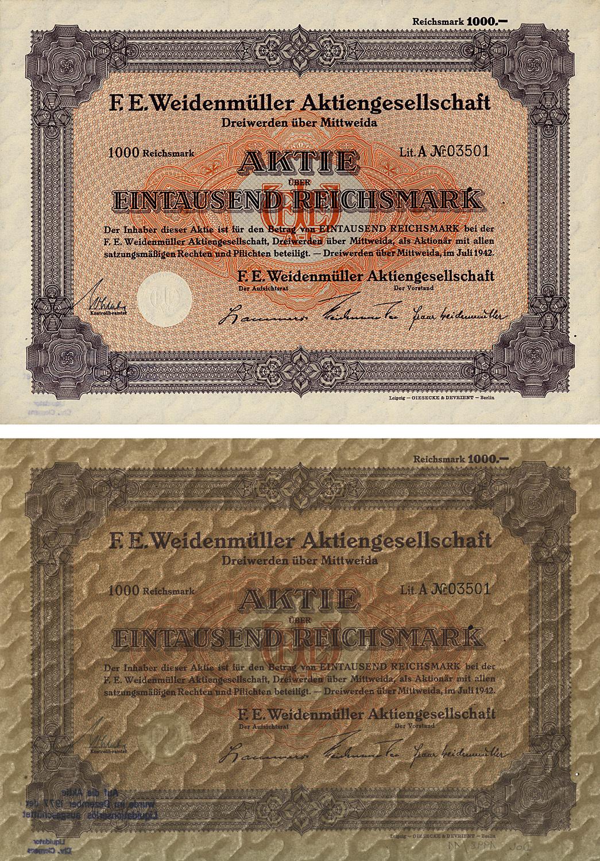Aktie über 1000 Reichsmark vom Juli 1942