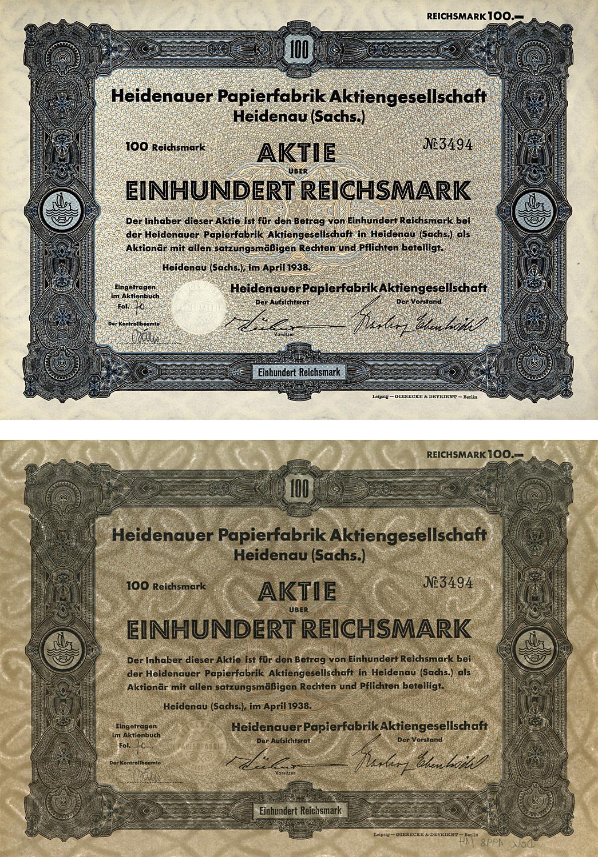 Aktie über 100 Reichsmark vom April 1938