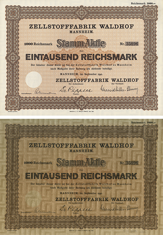 Stamm-Aktie über 1000 Reichsmark vom September 1941