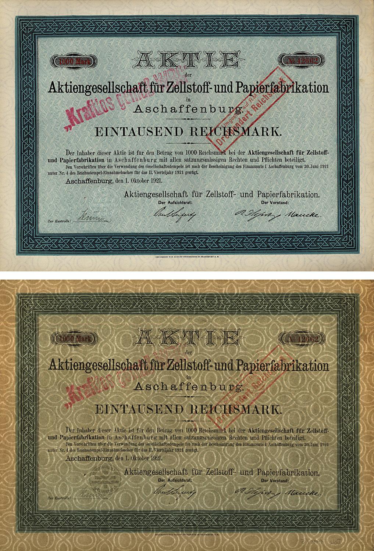 Aktie über 1000 Reichsmark vom 1. Oktober 1921
