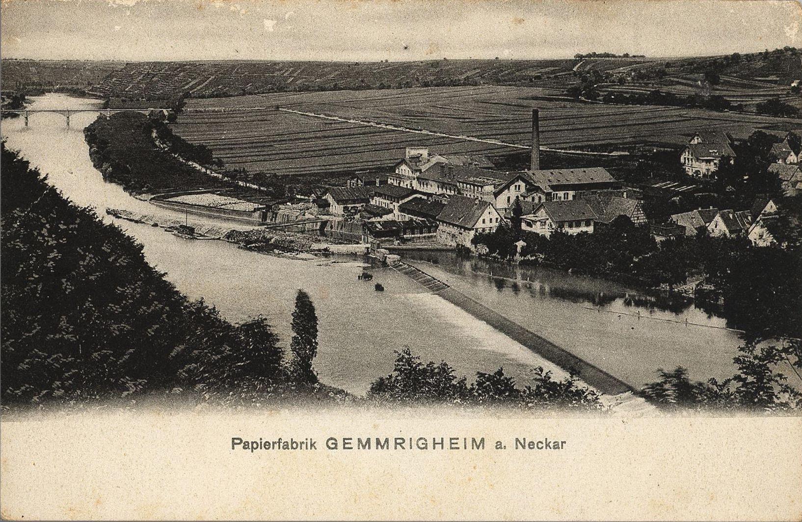 Ansichtskarte der Papierfabrik Gemmrigheim am Neckar