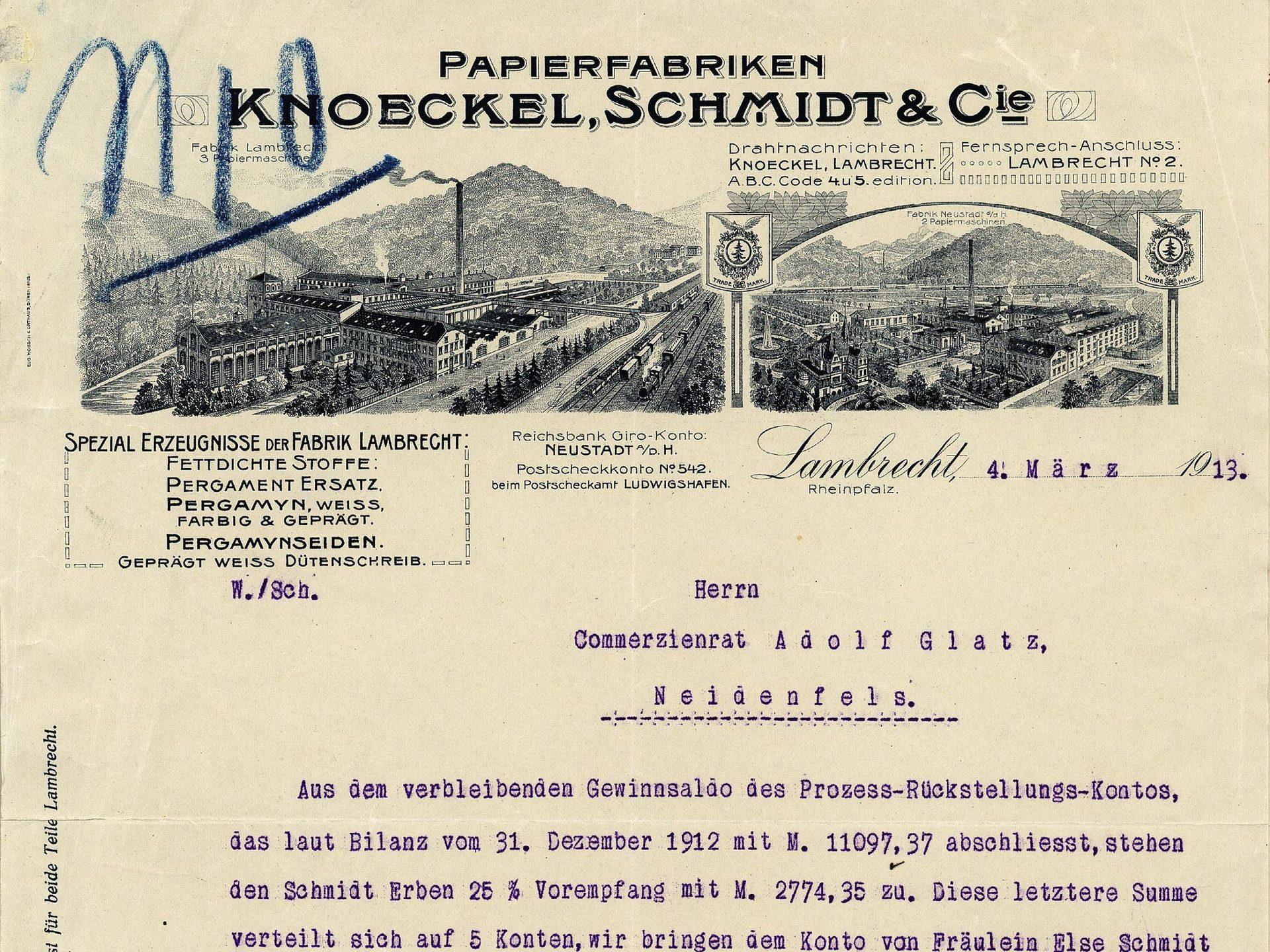 Briefkopf der Papierfabriken Knoeckel, Schmidt & Cie., Lambrecht (Rheinpfalz)