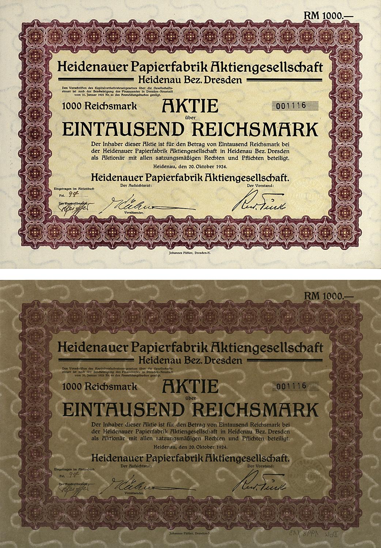 Aktie über 1000 Reichsmark vom 20. Oktober 1924