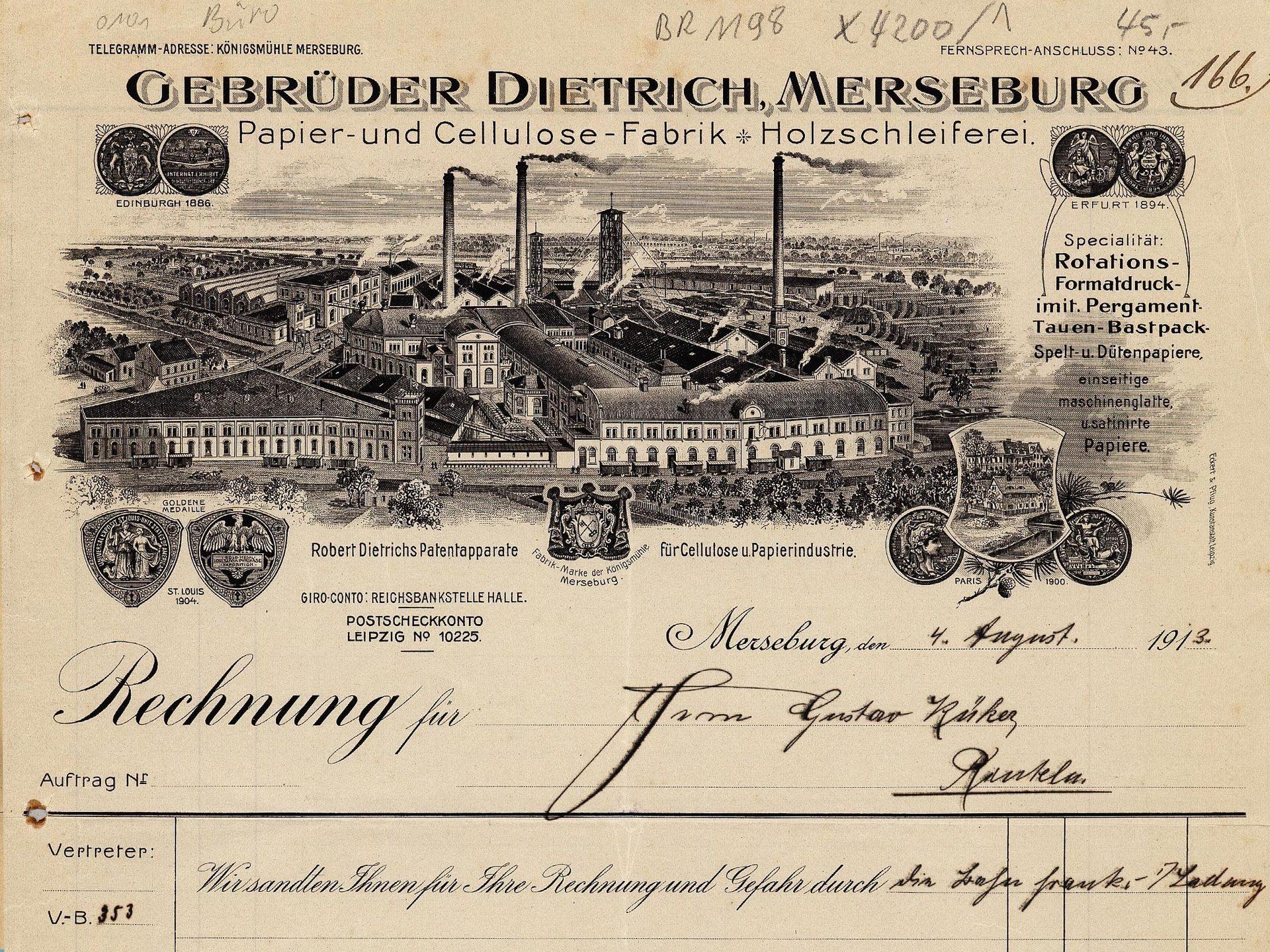 Rechnungsformular von Gebrüder Dietrich, Merseburg