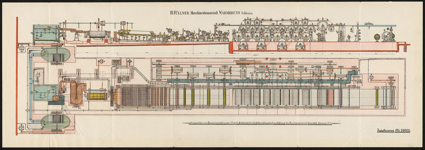 Anlageplan zur Papiermaschine von 2700 mm Siebbreite für die Internationale Ausstellung für Buchgewerbe und Graphik