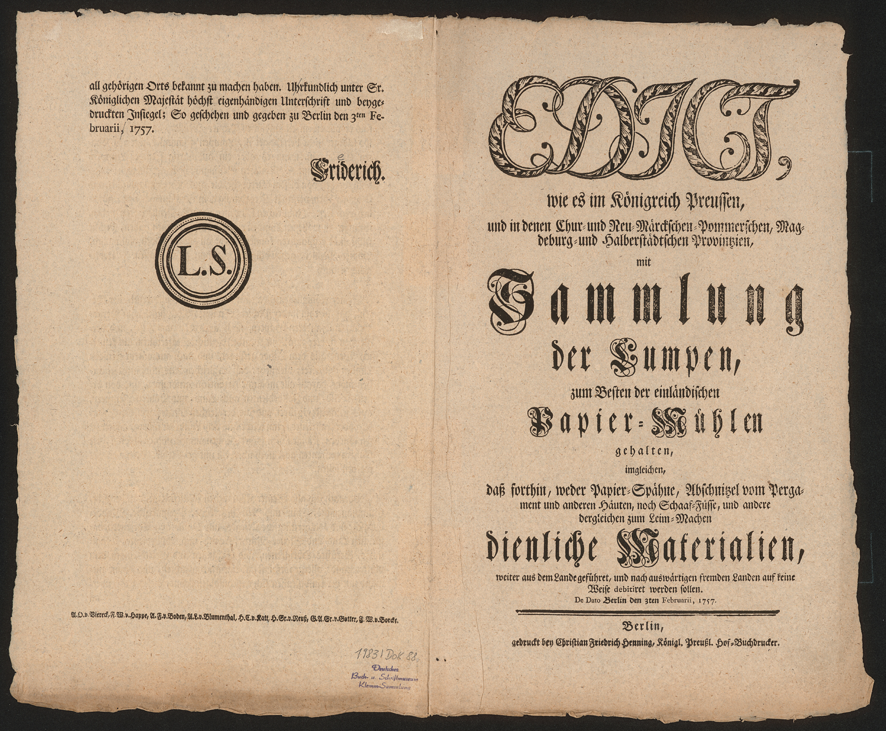 Preußisches Lumpensammeledikt von 1757