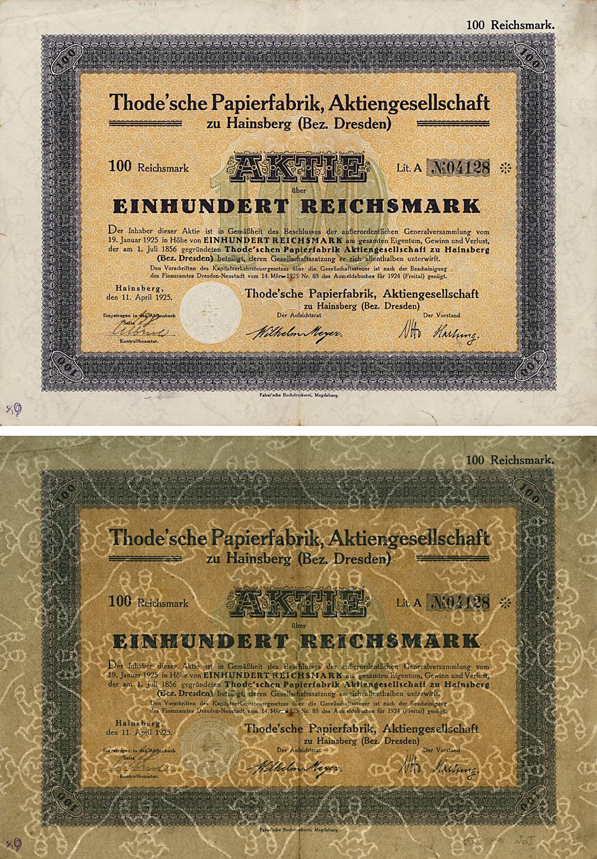 Aktie über 100 Reichsmark vom 11. April 1925