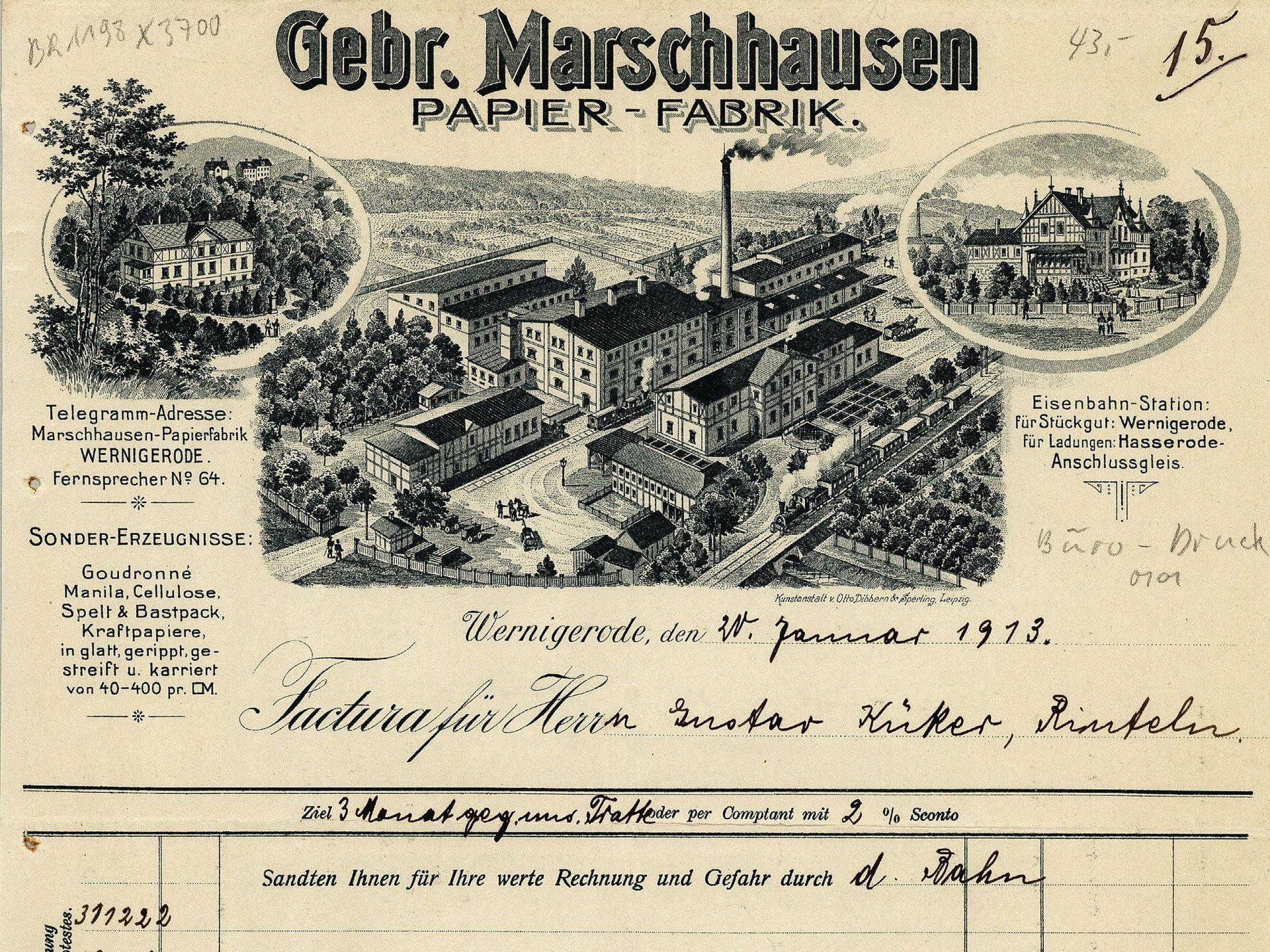 Rechnungsformular der Papierfabrik Gebr. Marschhausen in Wernigerode