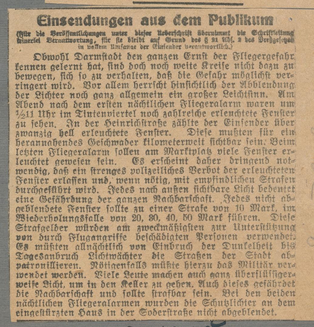 Zuschrift aus der Bevölkerung über den Fliegerangriff auf Darmstadt am 16. August 1918