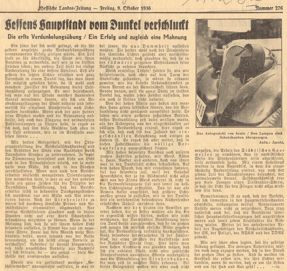 Bericht der Hessischen Landeszeitung über erste Verdunkelungsübungen in Darmstadt