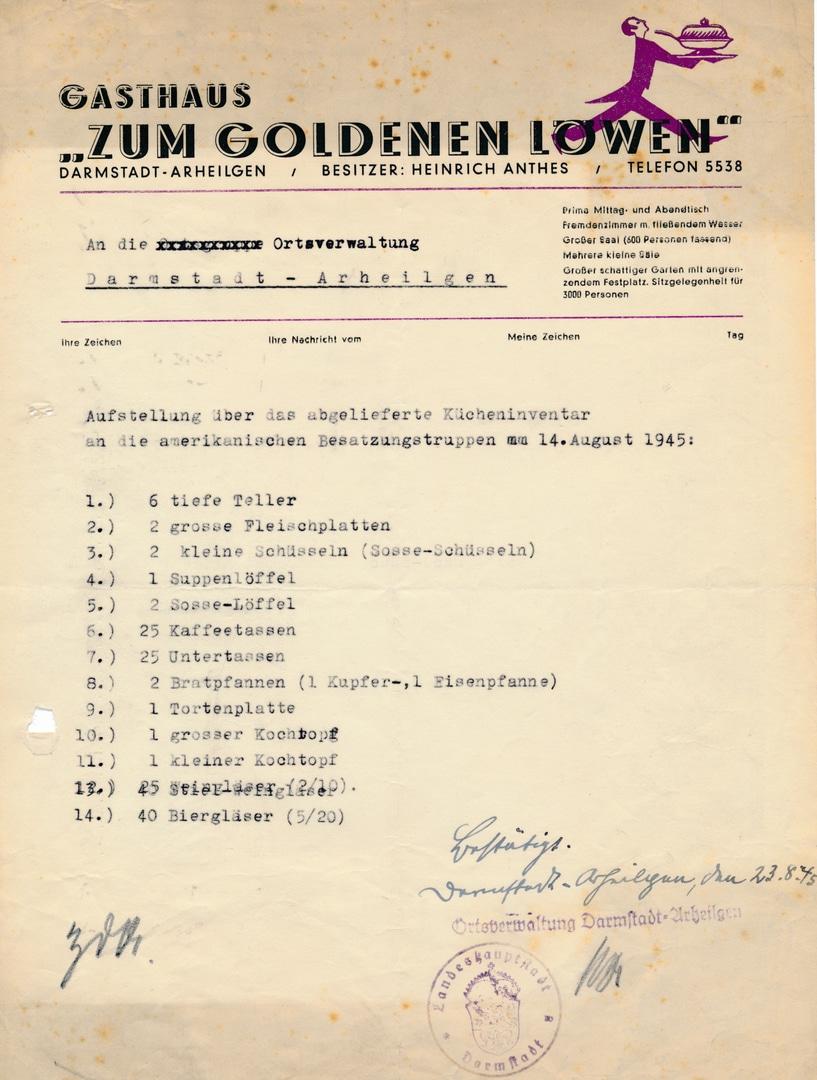 """Bescheinigung für den Besitzer des """"Goldenen Löwen"""" in Arheilgen über die Abgabe eines Teils seines Geschirrs an die amerikanische Besatzung"""