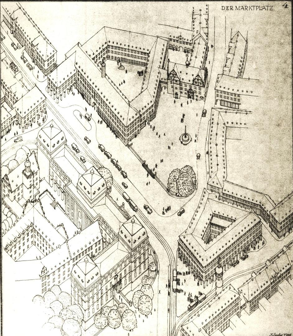 Aufbauplan für die Innenstadt und den Marktplatz von Karl Gruber