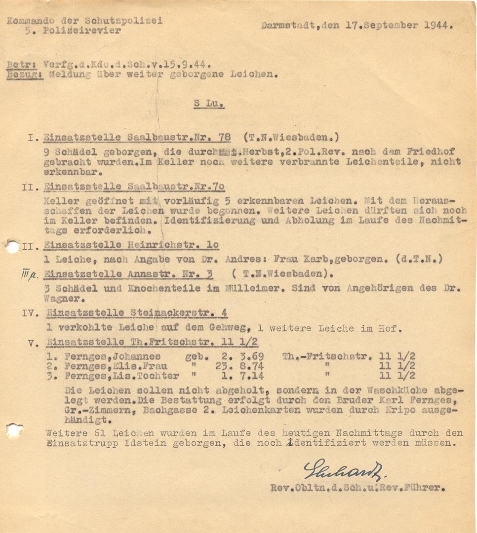 Organisation der Leichenbergung durch die Polizeireviere in Darmstadt