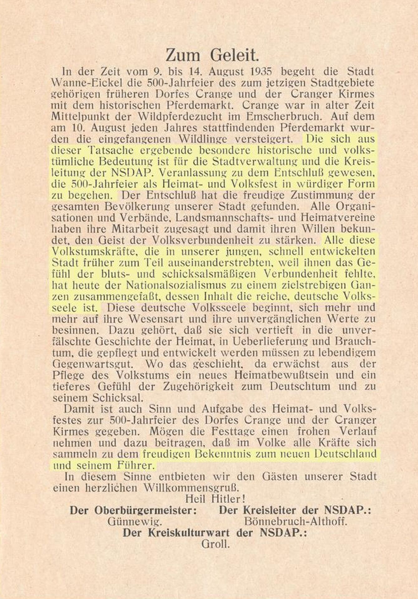 Festschrift '500 Jahre Dorf Crange und Cranger Kirmes', Zum Geleit, 1935.jpg