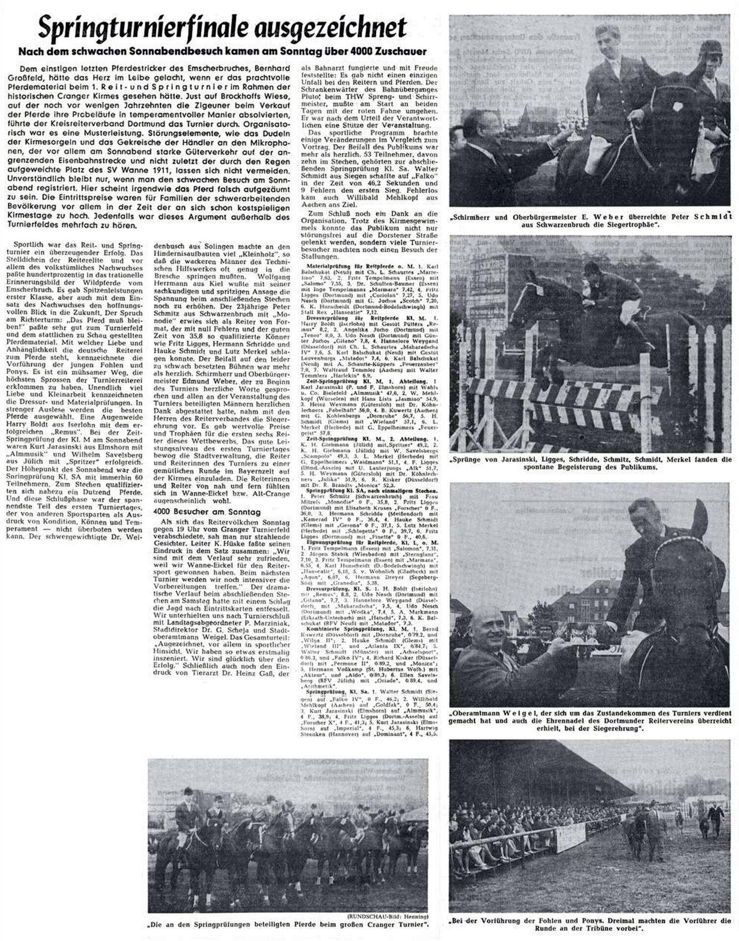 Bericht über das erste Reit- und Springturnier m Rahmen der Cranger Kirmes 1965, Westfälische Rundschau vom 09.08.1965.jpg