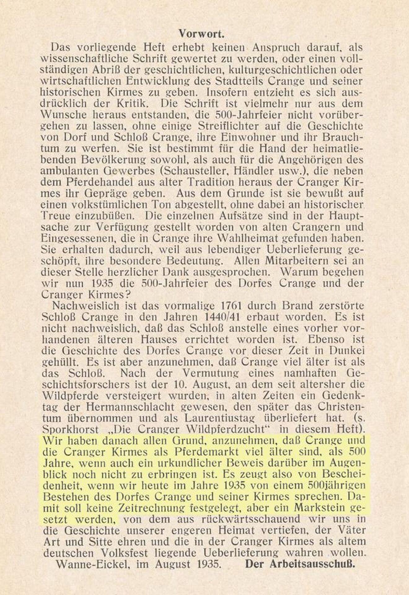 Festschrift '500 Jahre Dorf Crange und Cranger Kirmes', Vorwort, 1935.jpg