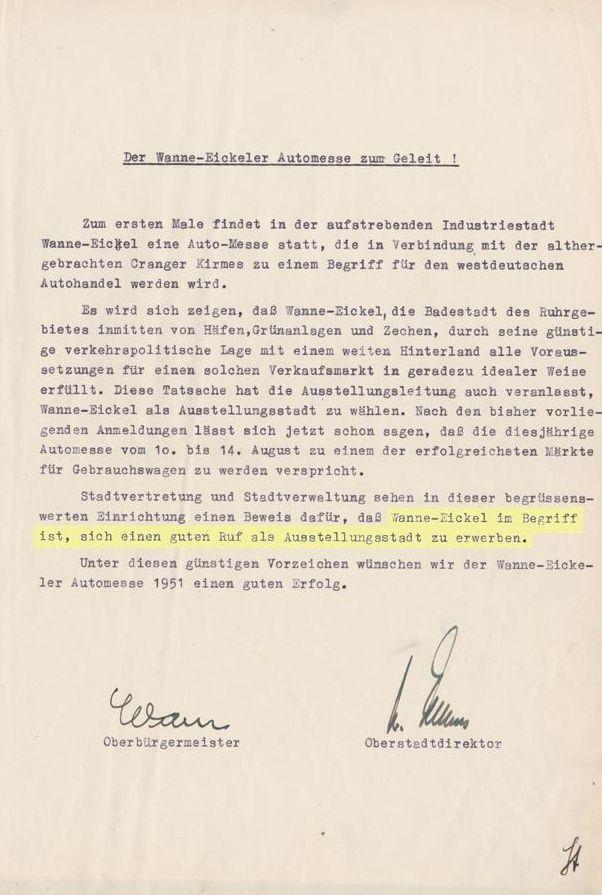Der Wanne-Eickeler Automesse zum Geleit, Automesse 1951.jpg