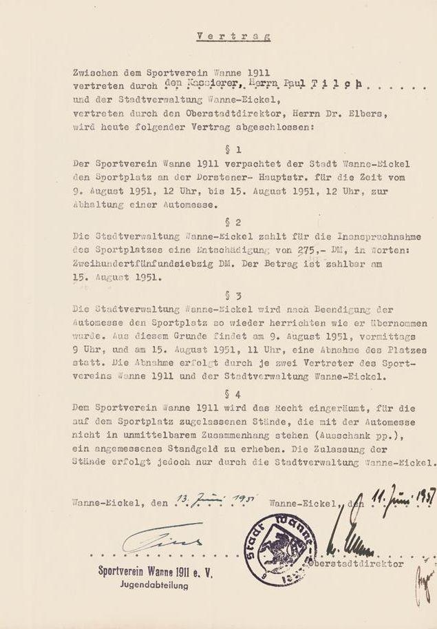 Automesse Wanne-Eickel, Vertrag mit dem Sportverein Wanne 11, 1951.jpg