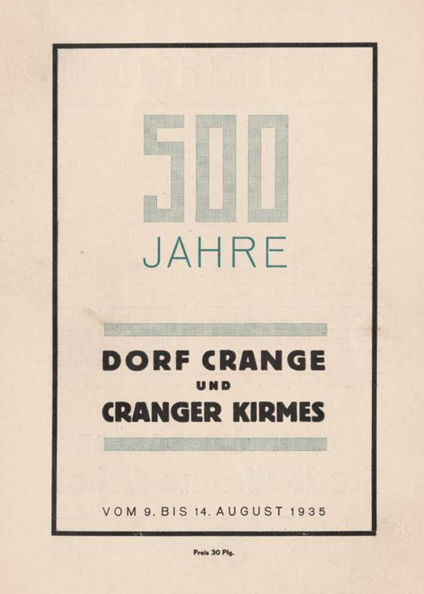 Festschrift '500 Jahre Dorf Crange und Cranger Kirmes', Titelblatt, 1935.jpg
