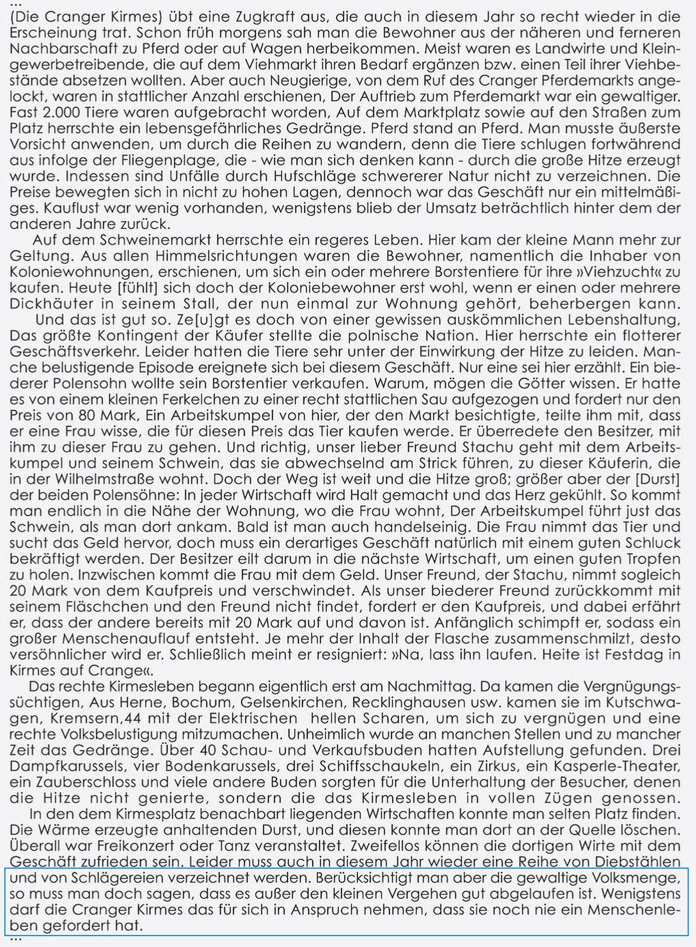 Die Cranger Kirmes hat noch nie ein Menschenleben gefordert, Transkription eines Artikels aus der Wanner Zeitung vom 12.08.1911..jpg