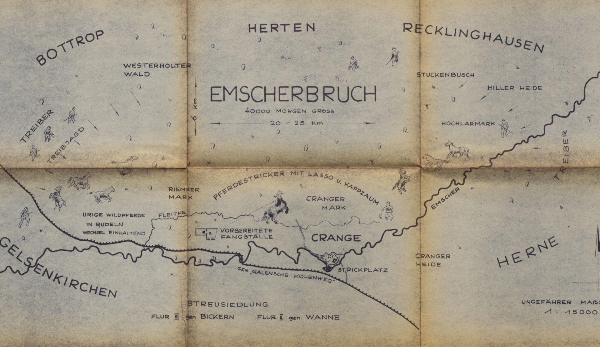 Karte 'Treibjagd im Emscherbruch', Darstellung von Kaspar Müller, undatiert.jpg