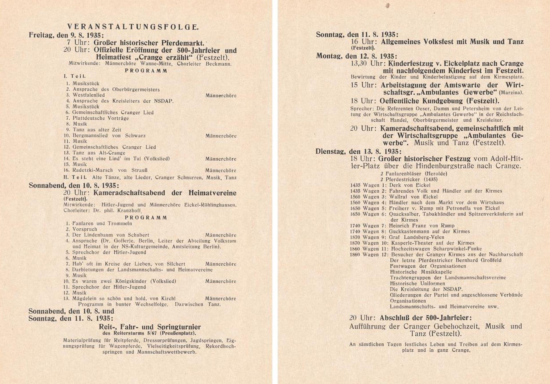 Festschrift '500 Jahre Dorf Crange und Cranger Kirmes', Veranstaltungsfolge, 1935.jpg
