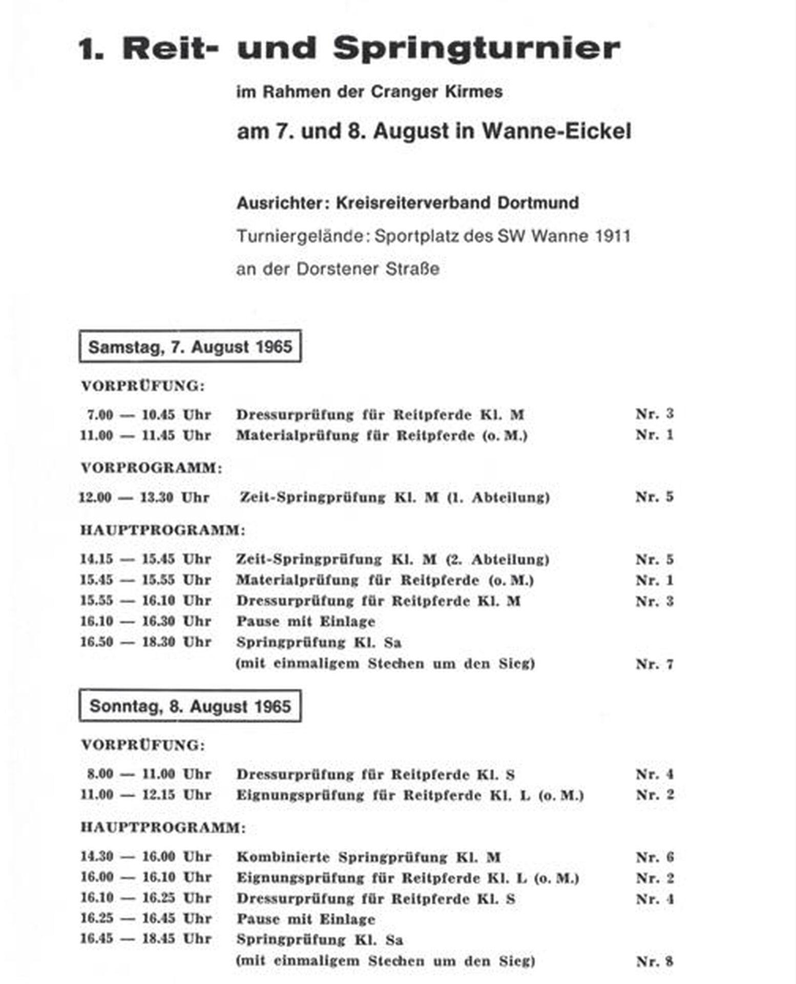 Programm des 1. Reit- und Springturniers im Rahmen der Cranger Kirmes 1965.jpg