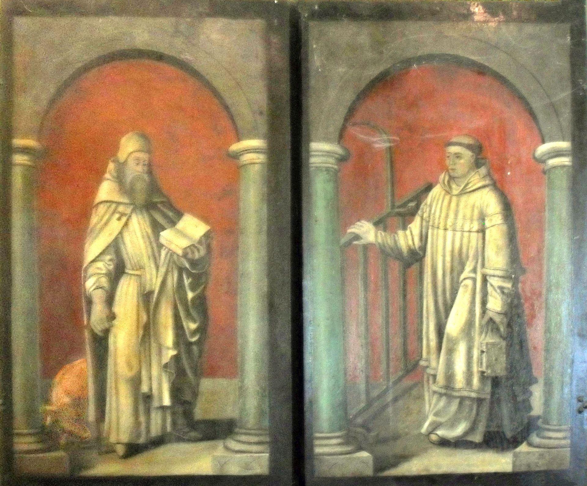 Die Schutzheiligen von Crange, Antonius und Laurentius, abgebildet auf dem Triptychon der Cranger Kapelle, Fotobearbeitung Edda Reffelmann.jpg