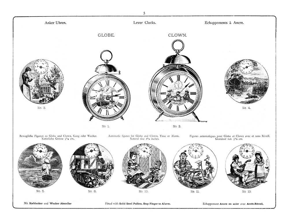 Seite 5 des Katalogs der Hamburg Amerikanischen Uhrenfabrik (H.A.U.) von 1895