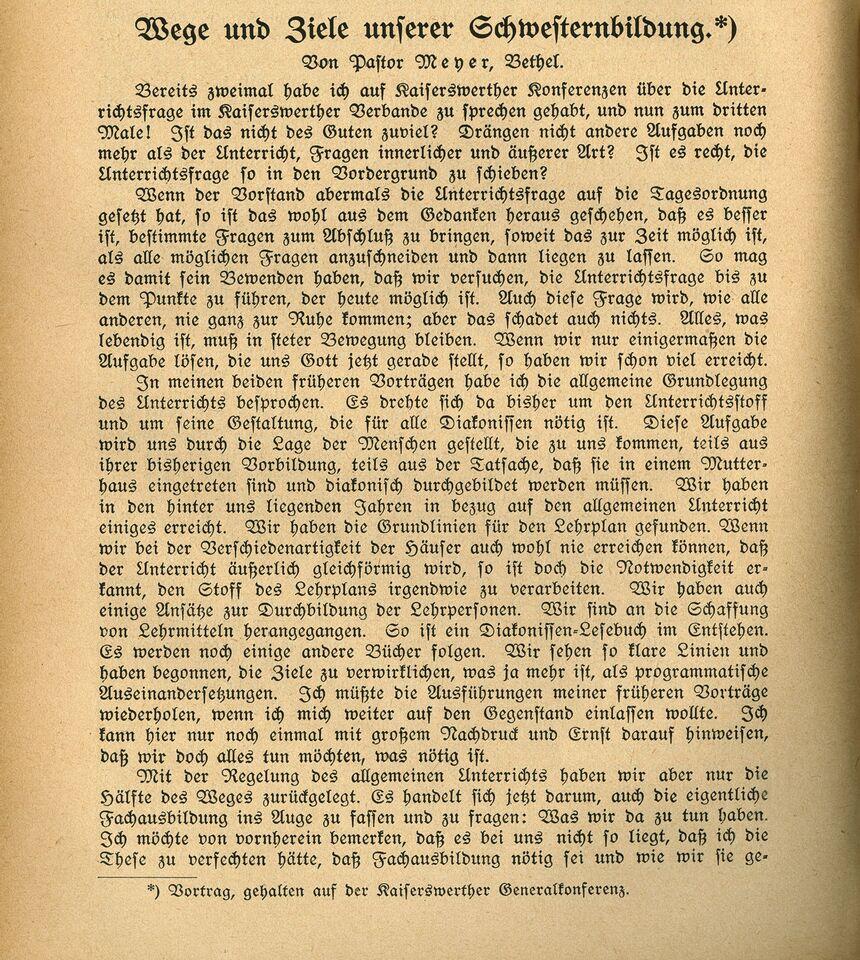 Ausbildung 3_Die Diakonisse 1927_Vortrag_Wege und Ziele unserer Schwesternbildung_Pastor Meyer, Seite 1.jpg