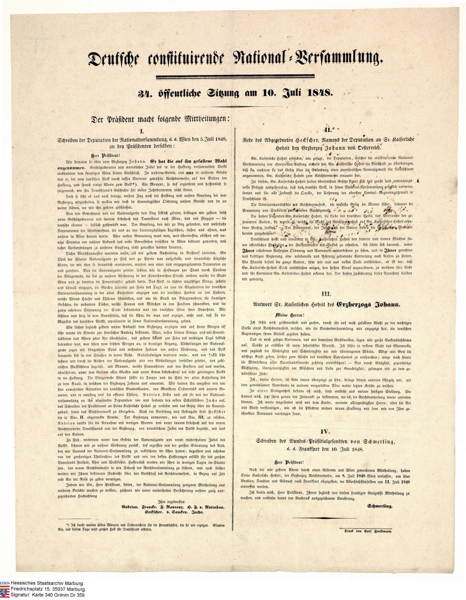 Deutsche constituierende Nationalversammlung. - 34. öffentliche Sitzung am 10. Juli 1848