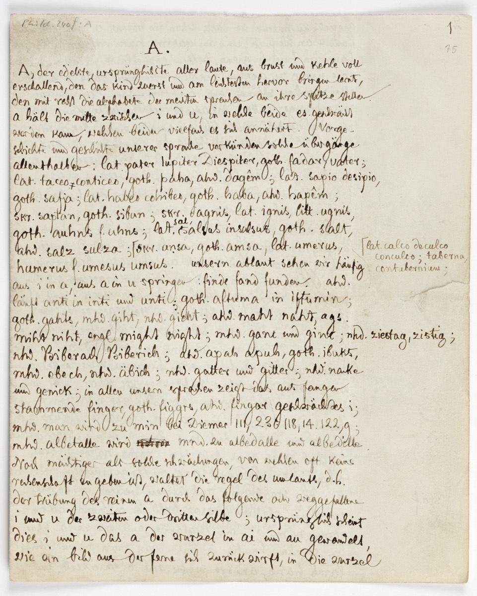 """Artikel """"A"""" für das Deutsche Wörterbuch von Jacob Grimm, Manuskript"""