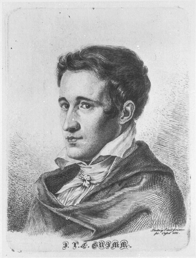 Jacob Grimm als Legationssekretär, Radierung von Ludwig Emil Grimm
