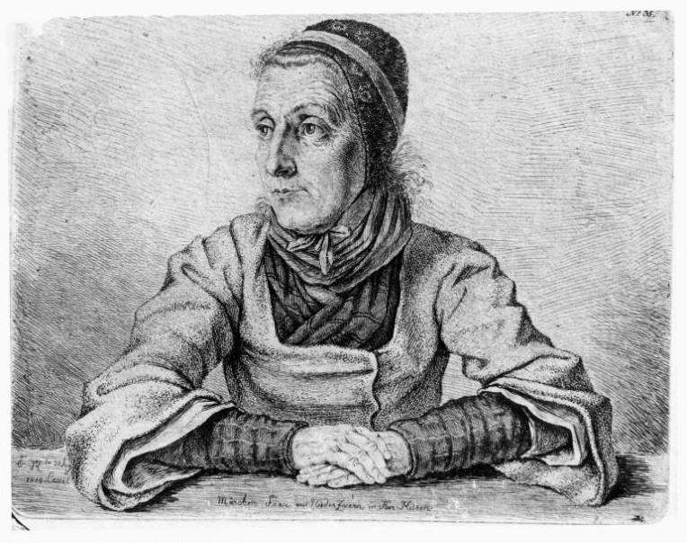 Märchen-Frau aus Nieder Zwern (Niederzwehren) in Kur Hessen, Ludwig Emil Grimm, 1814