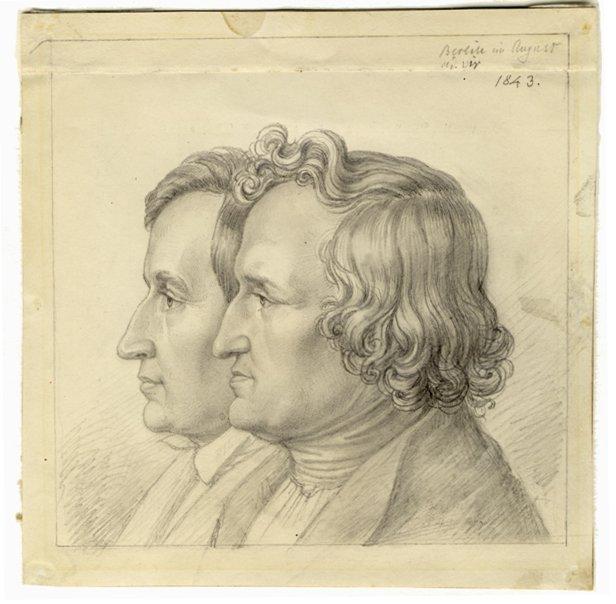 Grimm-Doppelporträt von Ludwig Emil Grimm, 1843