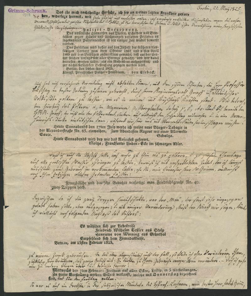 Brief von Karl Hartwig Gregor von Meusebach an Jacob Grimm, 21. Mai 1825