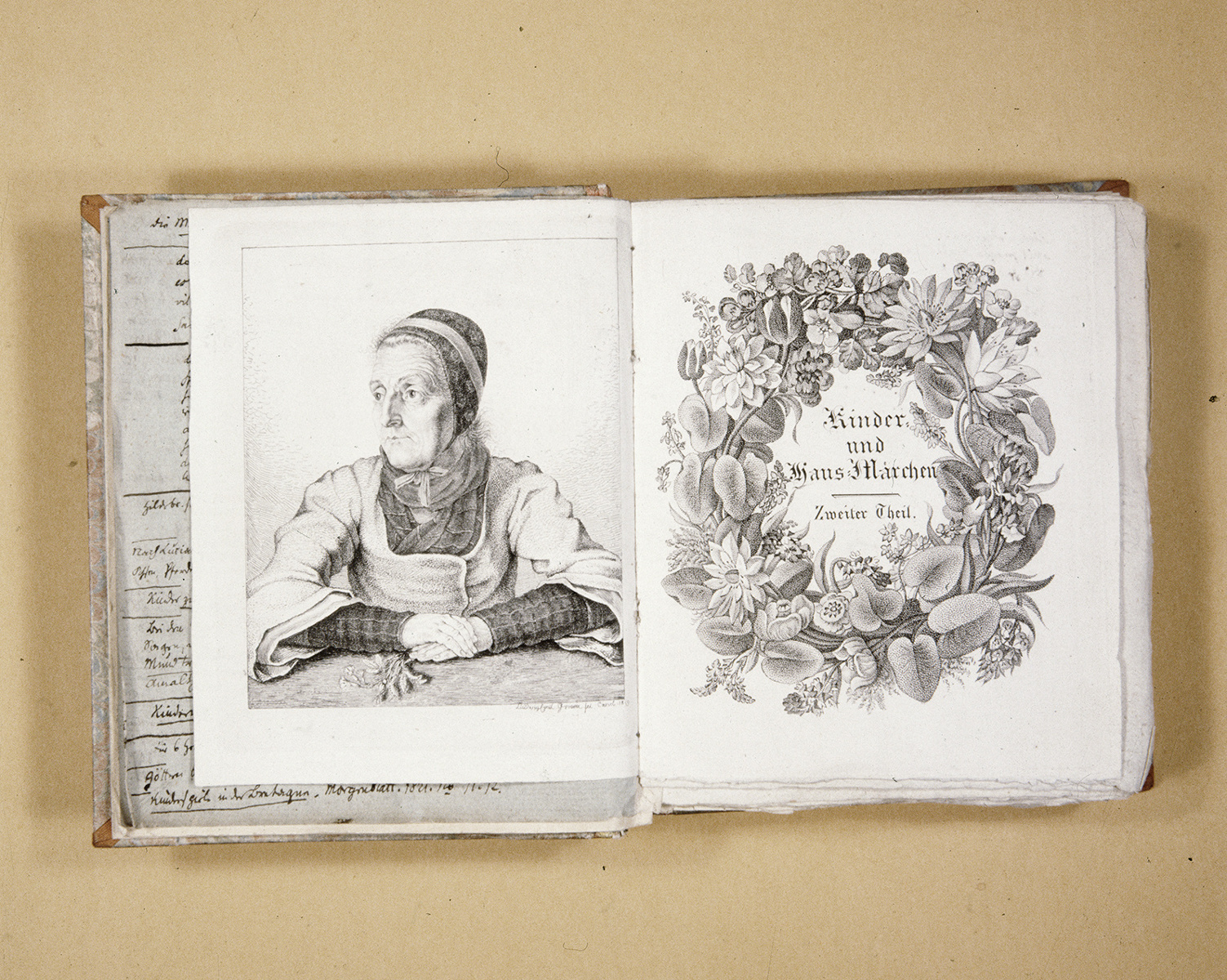 Illustriertes Titelblatt des zweiten Bandes der Kinder- und Hausmärchen der Brüder Grimm mit Darstellung der Märchenerzählerin Dorothea Viehmann, Stich von Ludwig Emil Grimm, 1819 (Brüder Grimm-Museum)