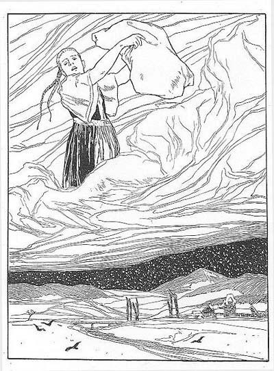 """Illustration von Otto Ubbelohde zum Märchen """"Frau Holle"""""""