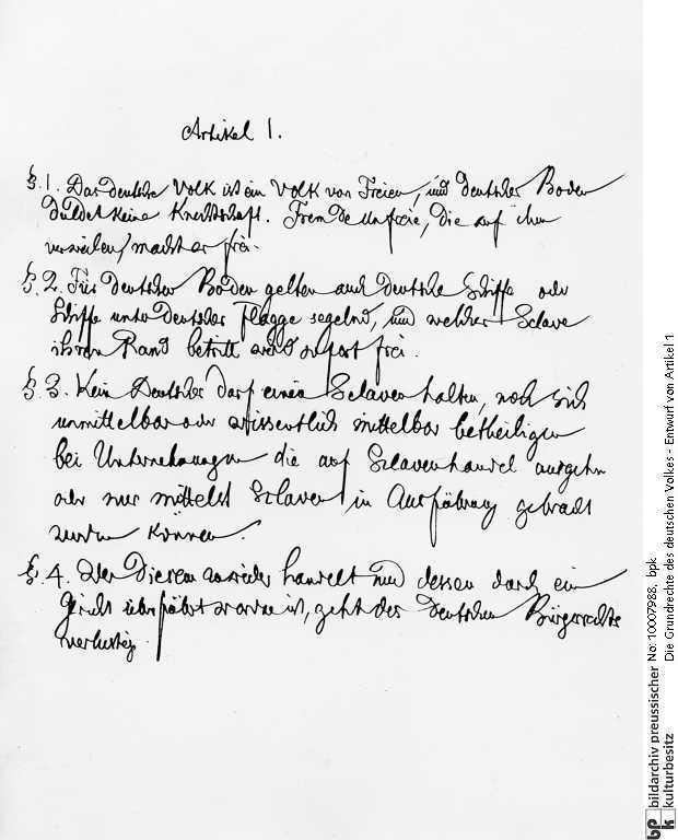 Jacob Grimm: Die Grundrechte des deutschen Volkes - Entwurf von Artikel 1