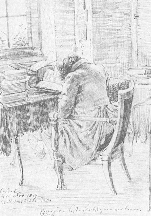 Jacob Grimm über dem Zettelkasten, Cassel den 18. November 1817, Ludwig Emil Grimm