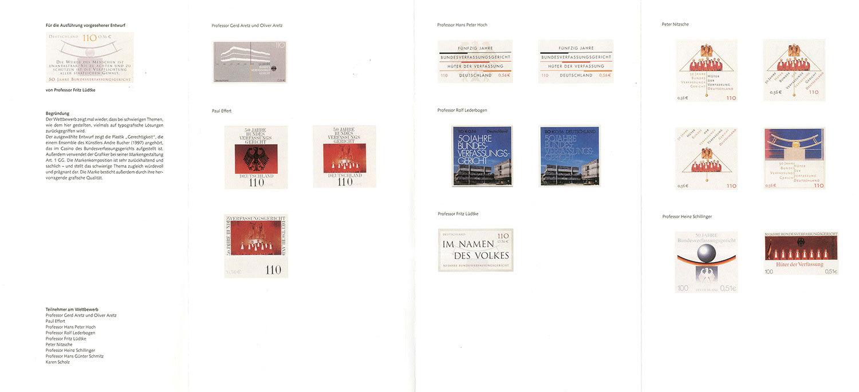 Wettbewerbsentwürfe für das Sonderpostwertzeichen anlässlich des 50-jährigen Bestehens des  Bundesverfassungsgerichts, 2001
