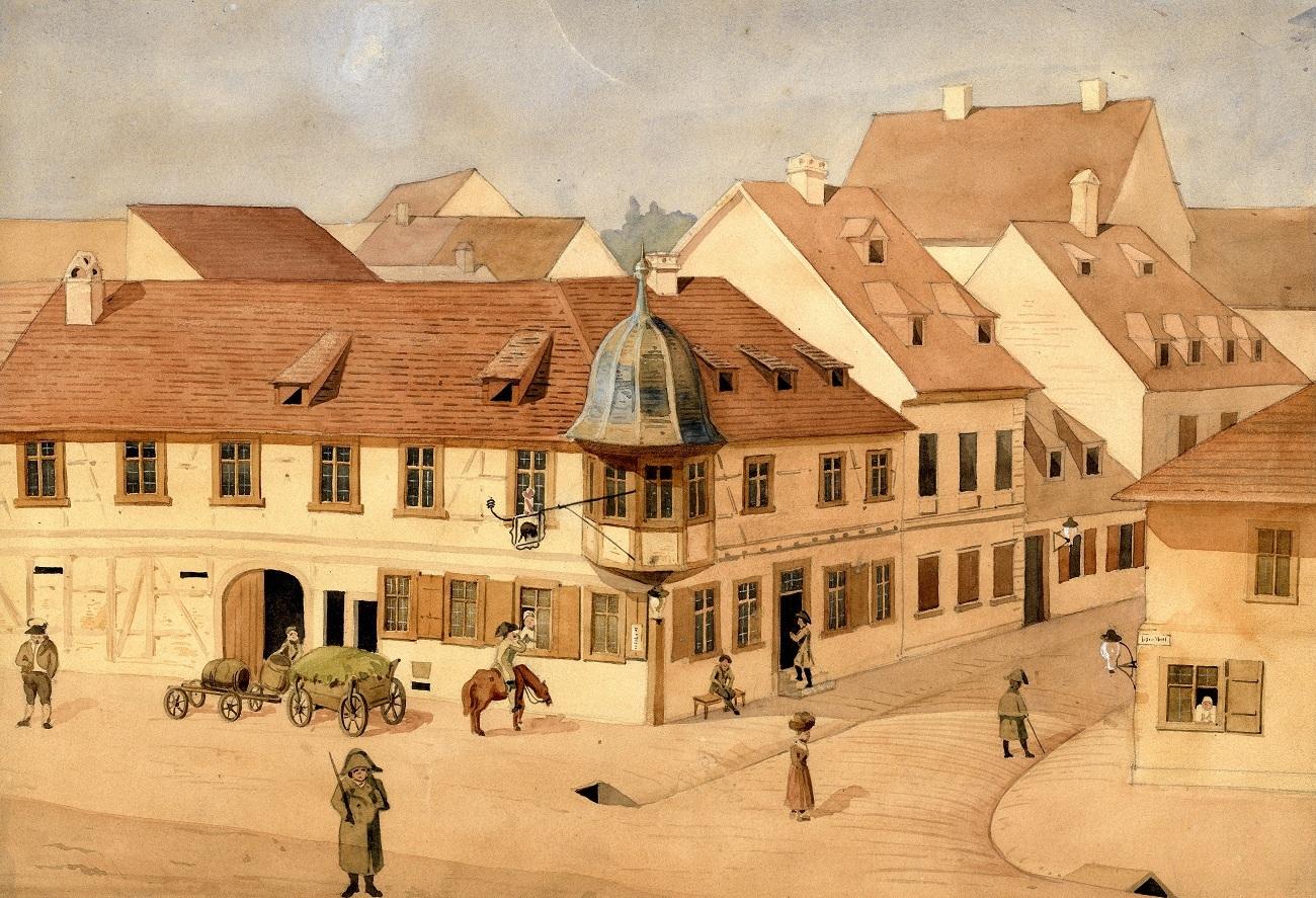 Gasthaus zum schwarzen Bären, um 1815